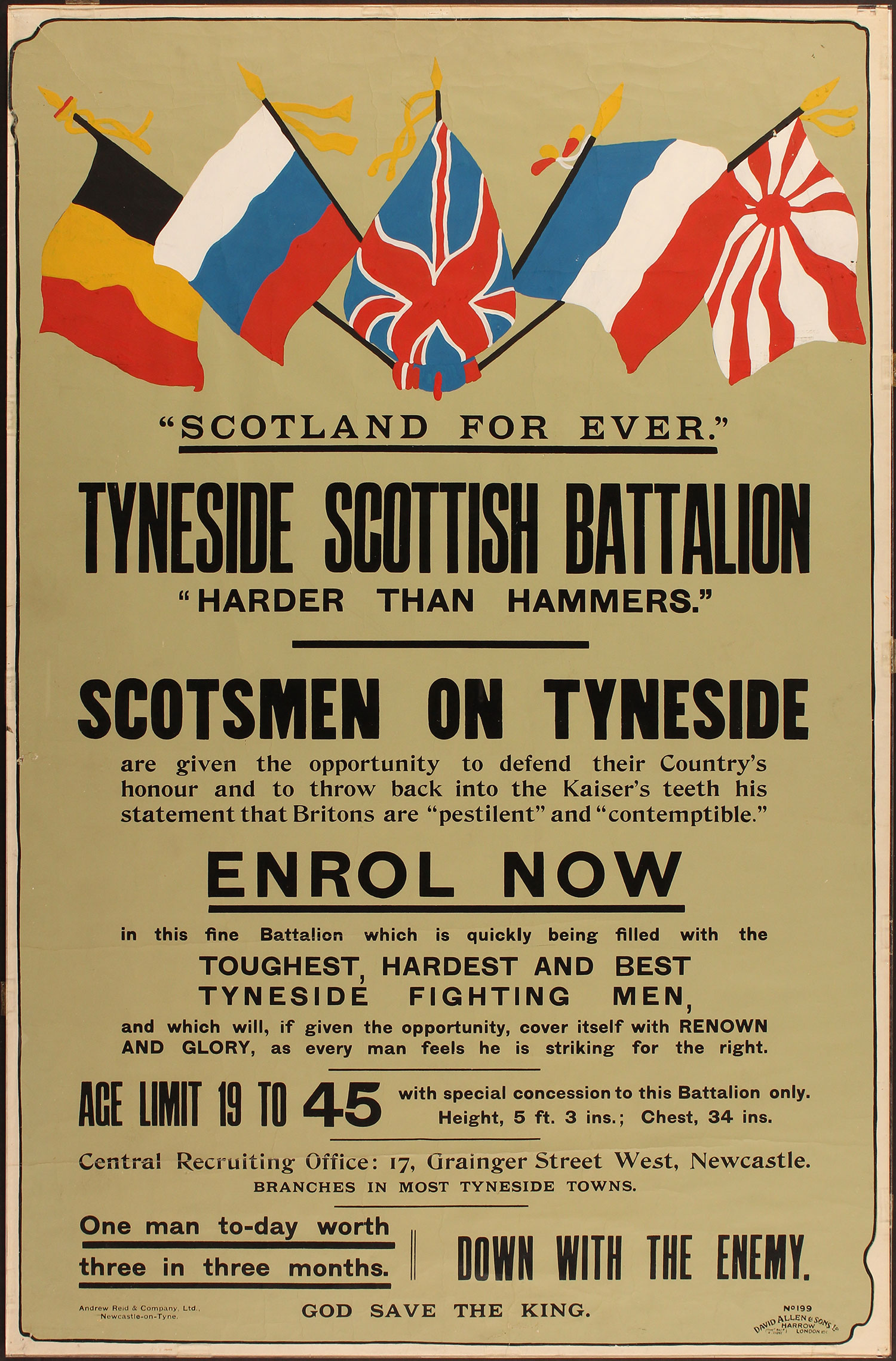 Tyneside Scottish Battalion recruitment poster courtesy of the Fusiliers Museum Northumberland