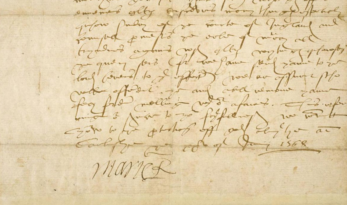 Letter to the Laird of Smeaton from Mary, Queen of Scots