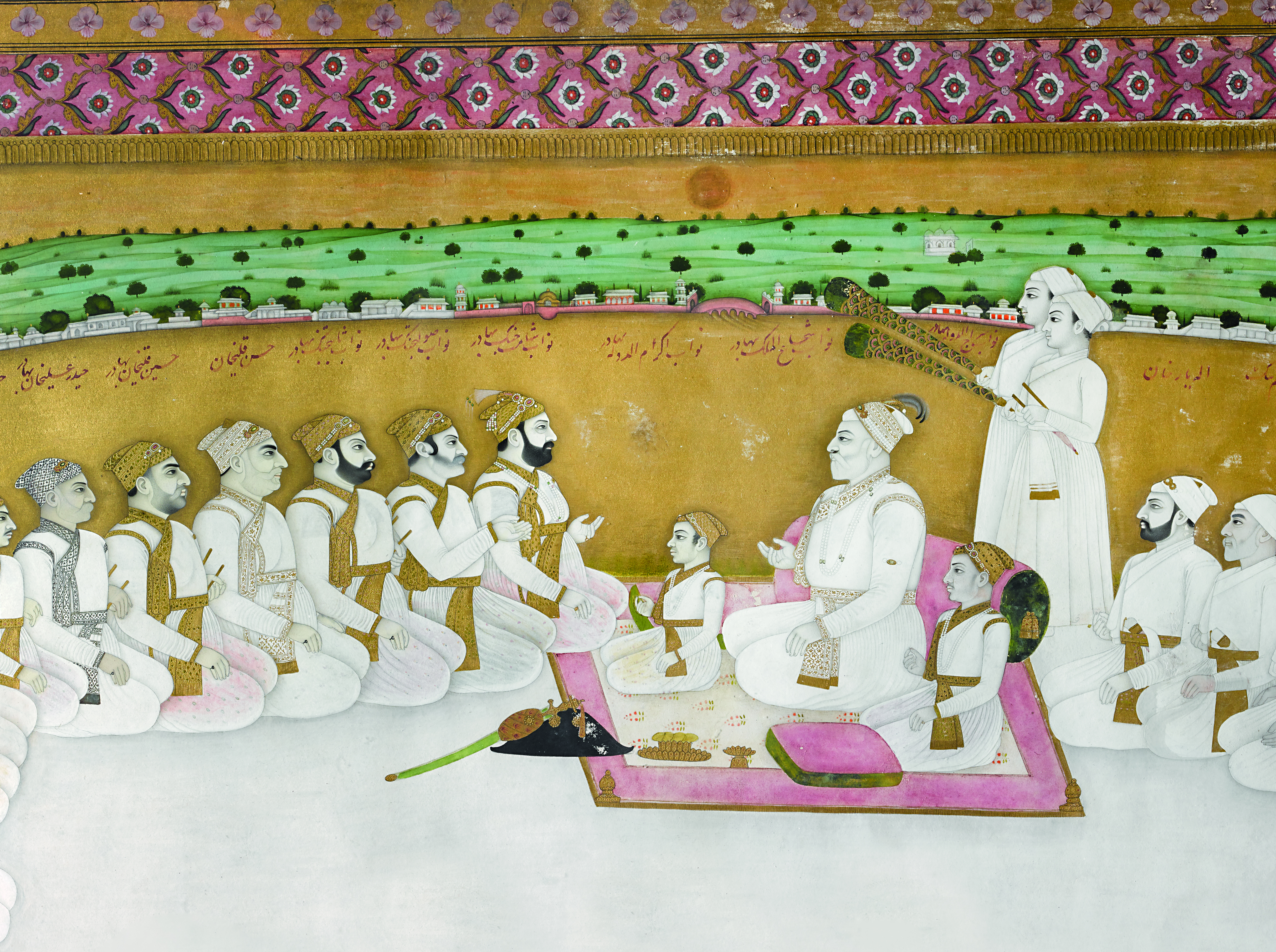 Miniature painting of the court of the Nawab of Bengal