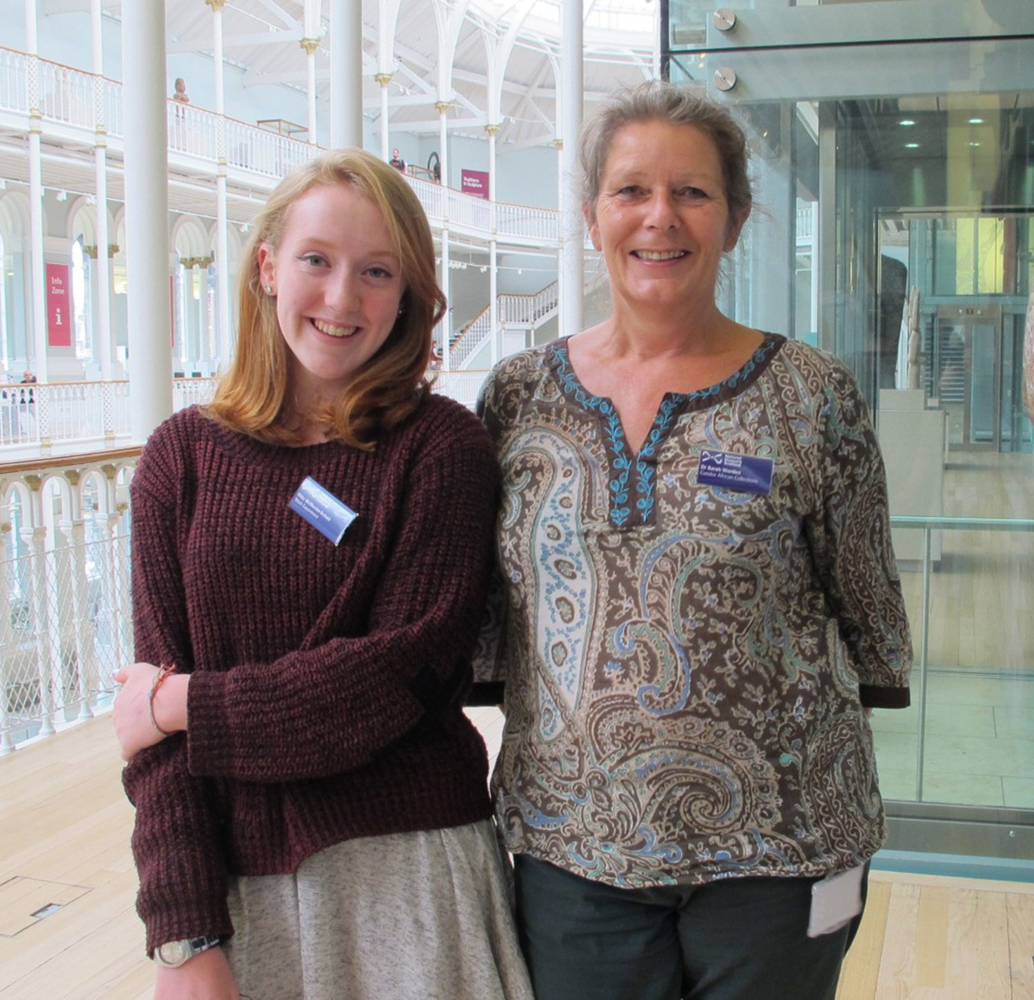 Work experience student Kitty with curator Sarah Worden
