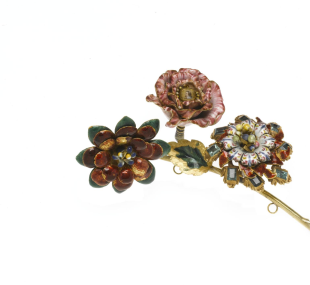 Brooch, flower spray / jewel, trembler