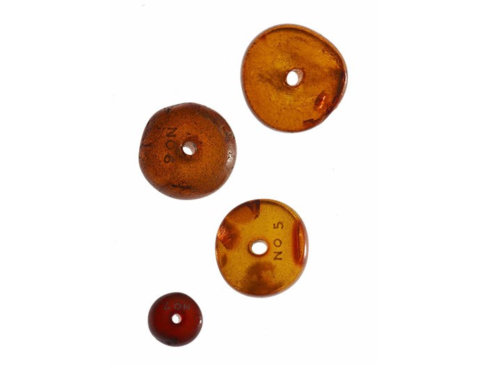 Amber beads used as a charm against blindness by the Macdonalds of Glencoe.