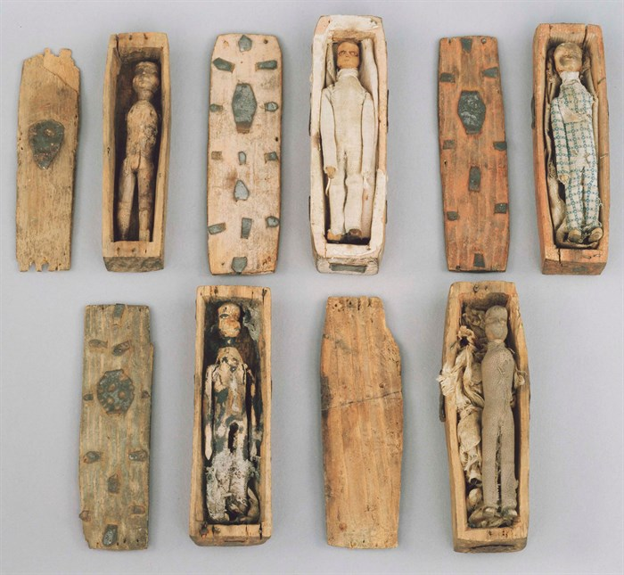 Five of the 8 coffins