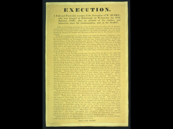 'Broadcast' of the Execution of Burke. © Surgeons' Hall Museums at The Royal College of Surgeons of Edinburgh.
