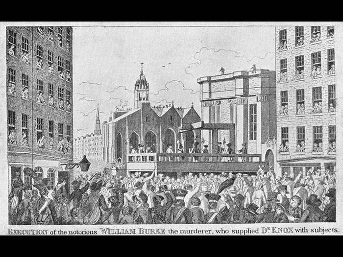 'Execution of the notorious William Burke the murderer, who supplied Dr Knox with subjects. A crowd of up to 25,000 people amassed to watch Burke die.
