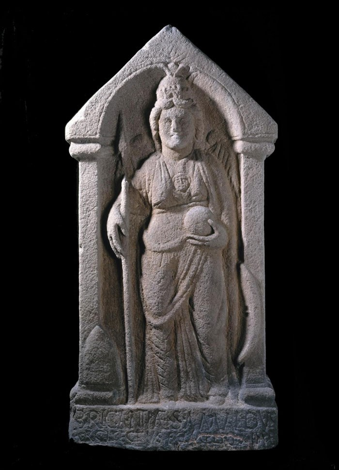 Sculpture of the goddess Brigantia depicting a native goddess from northern Britain in the guise of Minerva, from Birrens, Dumfriesshire.