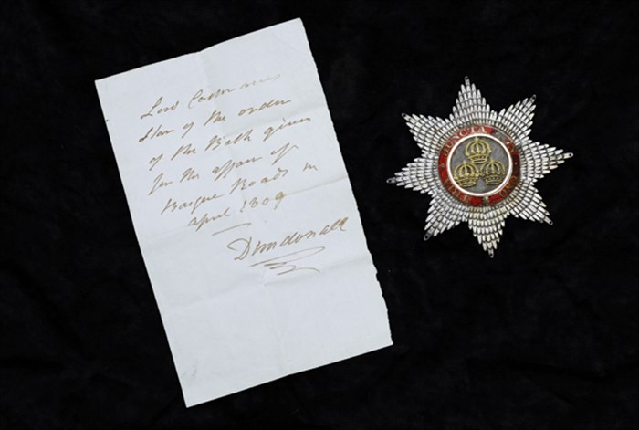 Star of a Knight Companion of the Order of the Bath awarded to Cochrane, with a note in his handwriting