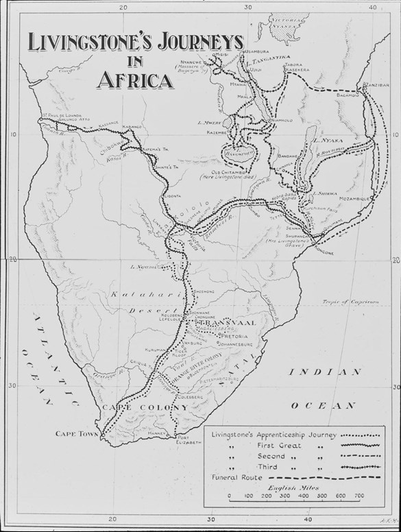 Map showing Livingstone's travels