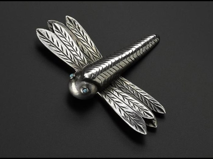 Dragonfly brooch with turquoise eyes, Navajo made, c.1940s.