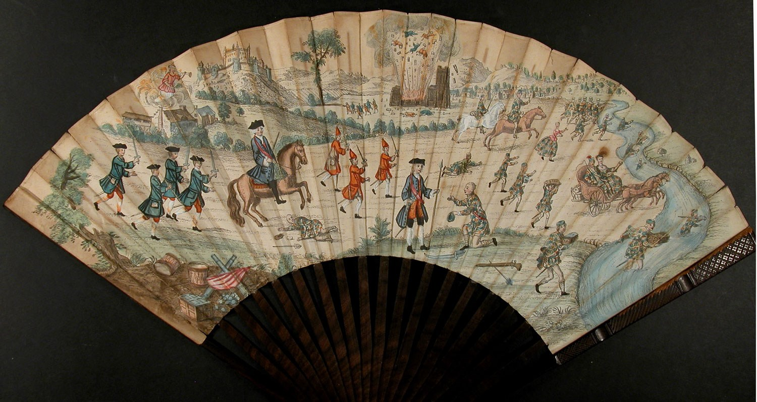 Paper fan depicting the Siege of Stirling, 1746, acquired by Stirling Smith Art Gallery and Museum
