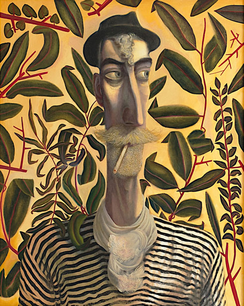 Oil painting, 'Leafy Self Portrait' by John Byrne, 2011, acquired by Aberdeen Art Gallery and Museums. Image reproduced courtesy of the artist.