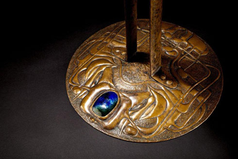 Copper and enamel candlestick by Margaret Macdonald and Frances Macdonald, mid-1890s, acquired by the Hunterian