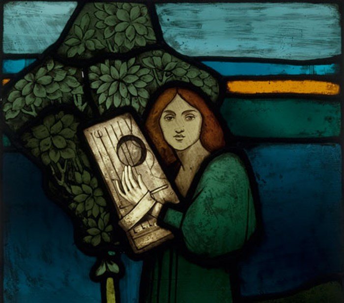 Coloured glass panel, 'Music' designed by David Gauld, c1891, acquired by Glasgow Museums
