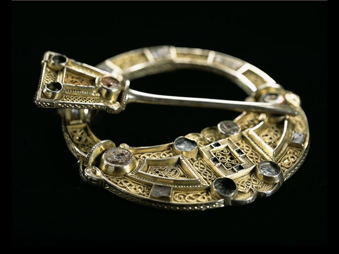 Hunterston Brooch, a solid silver brooch covered in a thin layer of gold, from Hunterston, Ayrshire, AD 650–750.