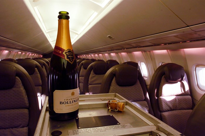 Champagne service on board Concorde