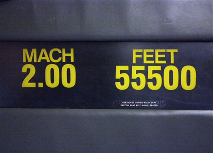 Mach sign on Concorde