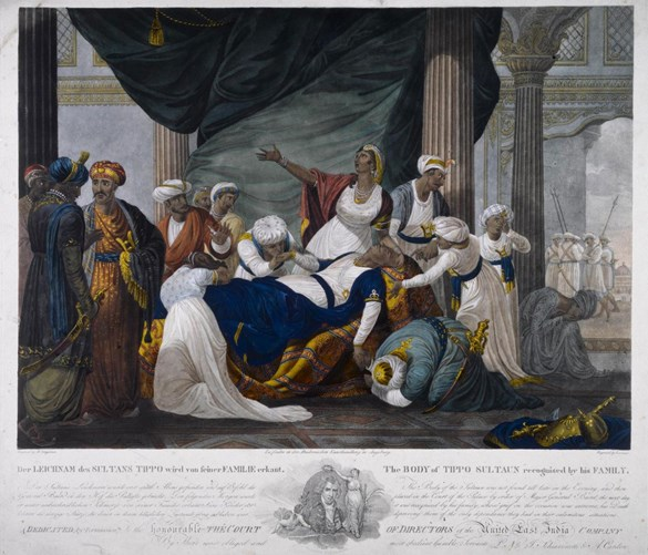 Colour engraving showing the death of Tipu Sultan