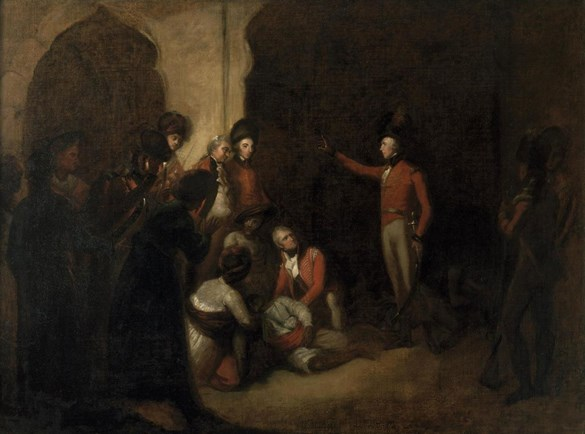 Oil painting of Baird and Wellesley discovering the body of Tipu Sultan