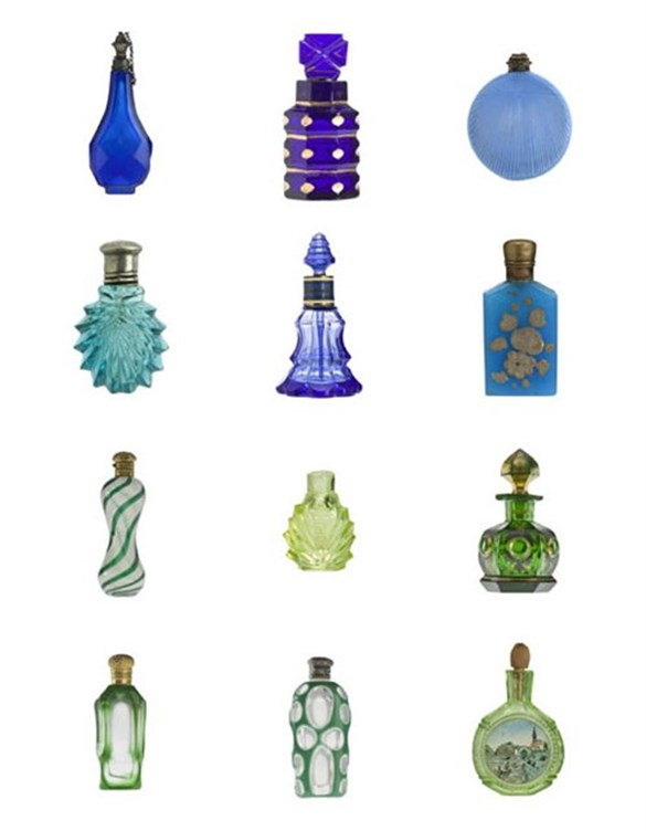 Blue and green scent bottles from the Ida Pappenheim collection