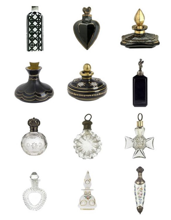 Black and clear scent bottles from the Ida Pappenheim collection