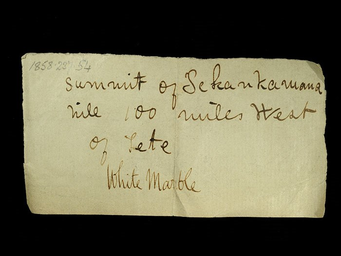 Livingstone's note written in the field for the white marble: 'Summit of Sekankamana hill 100 miles west of Tete.'