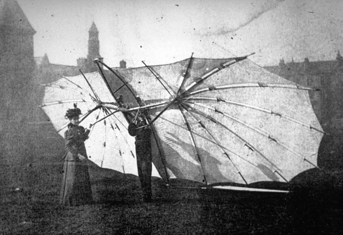 Percy and Ella test the Hawk at Kelvingrove Park, Glasgow, 1896