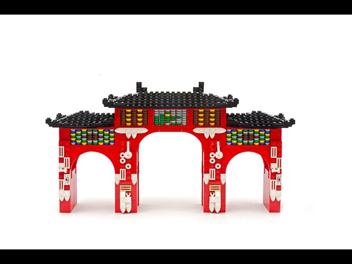 Chinese Gate made in LEGO® by artist Warren Elsmore