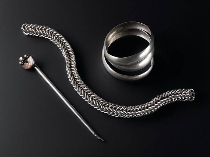 Gaulcross hoard: the silver handpin, bangle and chain found during the 19th century at Gaulcross, Aberdeenshire