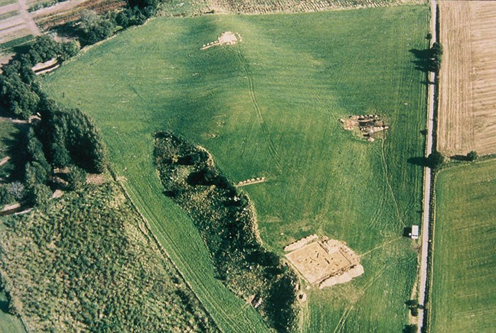 Aerial view of the site in Deskford where the carnyx was found. Image © Aberdeenshire Aerial Surveys.