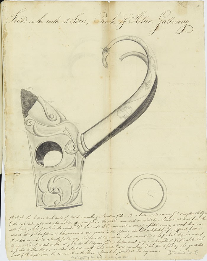 Above: Joseph Train's drawing of the pony cap. © Reproduced by permission of the National Library of Scotland.