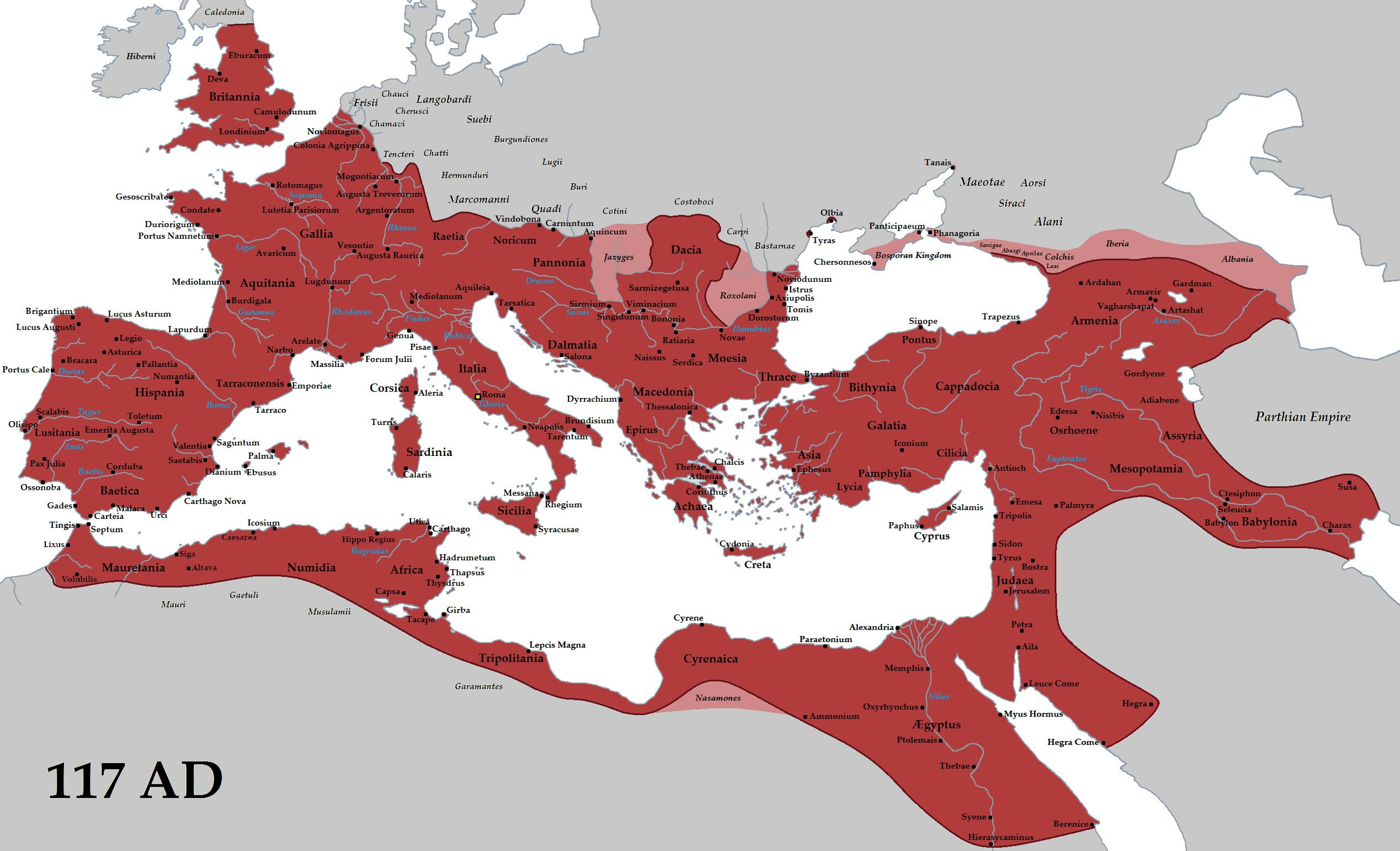 Creative Commons Attribution-Share Alike 3.0 Unported license https://commons.wikimedia.org/wiki/File:Roman_Empire_Trajan_117AD.png