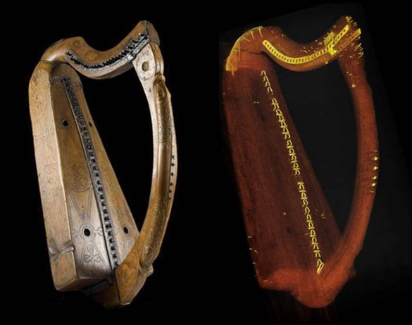 Queen Mary harp (photograph, left; CT scan rendering; right)
