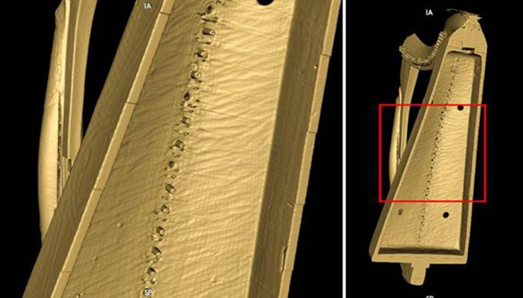 CT scan rendering showing tool marks inside the Queen Mary harp soundbox