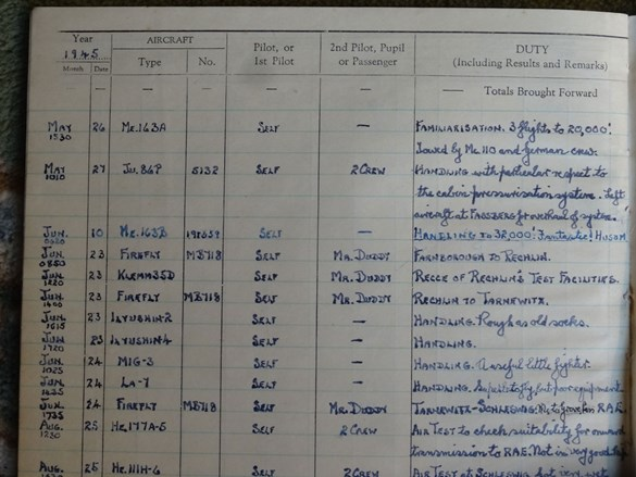 Page from Captain Brown's log book showing his flight in the Komet