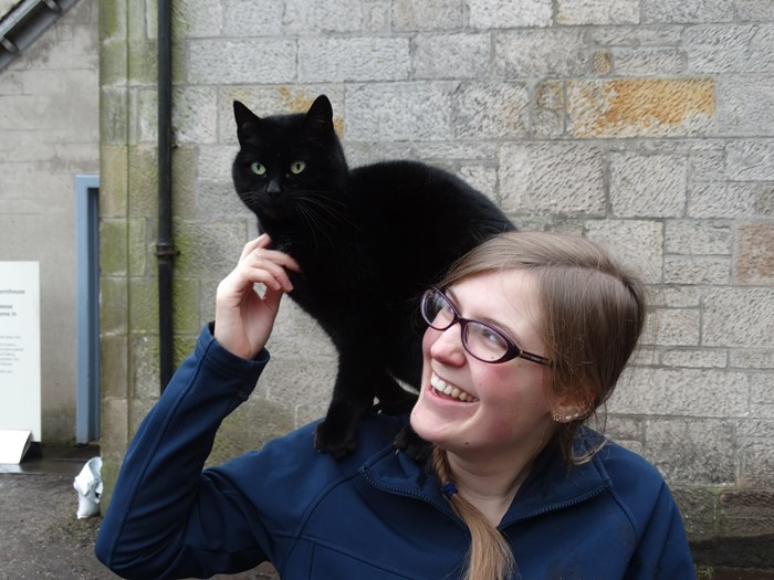 Meet Sooty the cat and Helyn at Wester Kittochside Farm, National Museum of Rural Life.