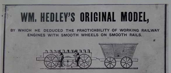 Hedley's experiment using a locomotive on smooth rails to pull heavy goods