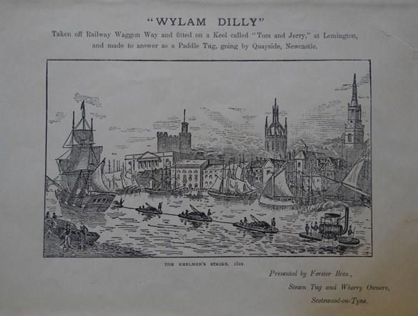 The amphibious Wylam Dilly pulling cargo along the river