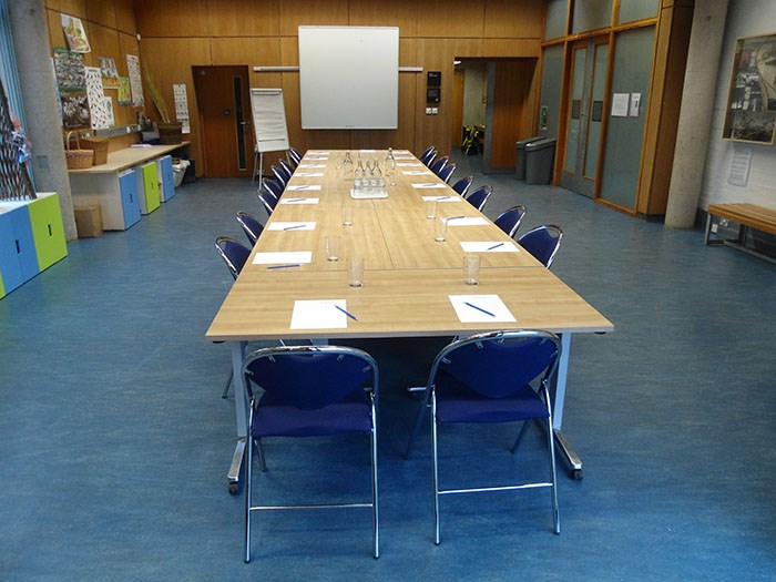 Boardroom-style meeting in the Learning Centre