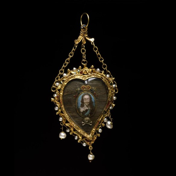 Heart-shaped gold and enamelled pendant, c. 1650, containing a miniature of Charles I, a lock of his hair and a part of the blood-stained linen shirt he wore at his execution.
