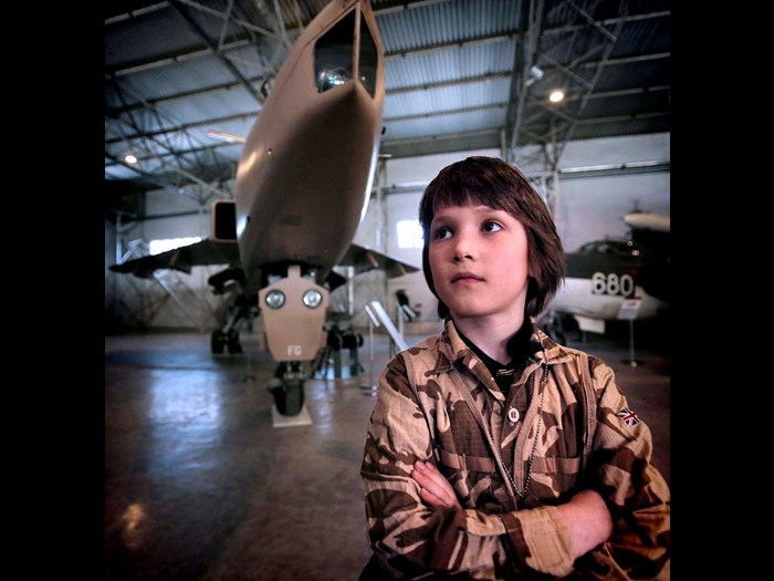 In front of the Sepcat Jaguar in the Military Aviation hangar © Paul Dodds