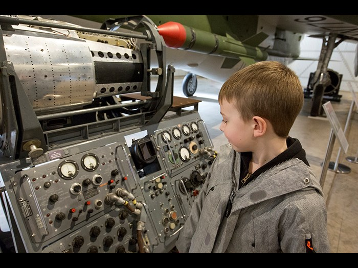 Investigating a control panel in the Military Aviation hangar © Paul Dodds