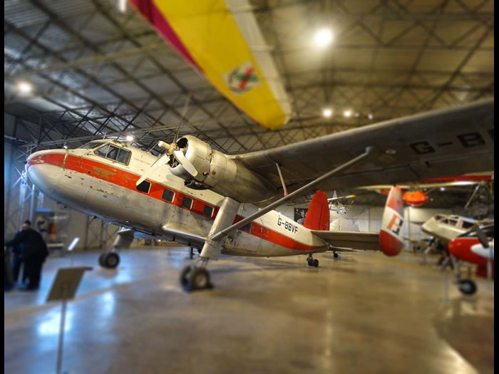 Twin Pioneer in the Civil Aviation hangar at National Museum of Flight.
