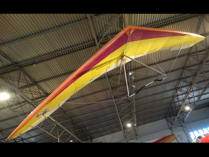 Airwave Magic Kiss hang glider in the Civil Aviation hangar at National Museum of Flight.