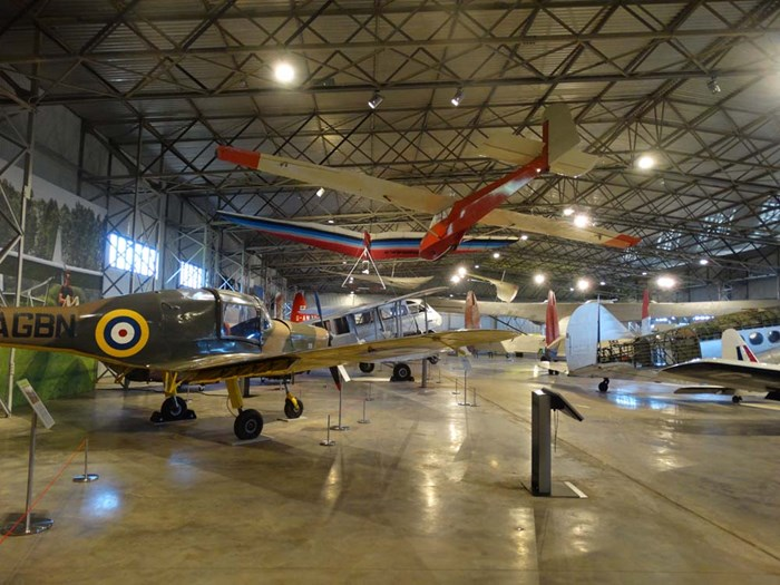 Inside the Civil Aviation hangar at National Museum of Flight.