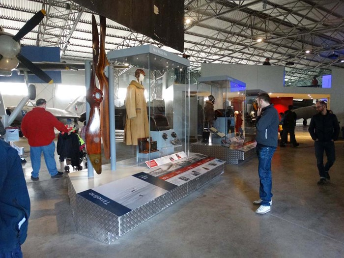 Display inside the Military Aviation hangar at National Museum of Flight.