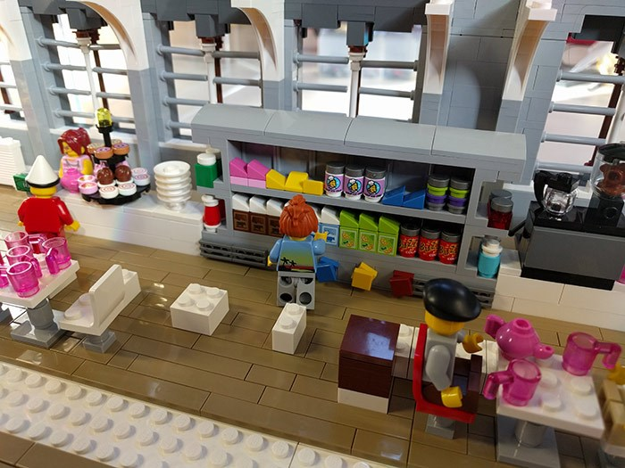 A LEGO® view of the balcony cafe at the museum
