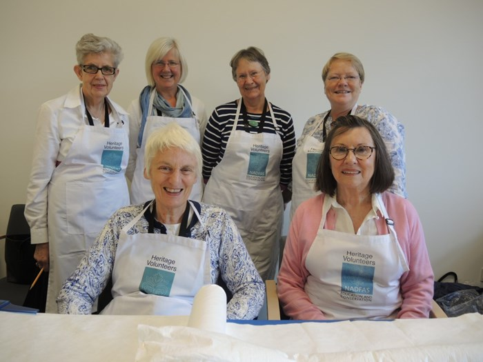 This team of volunteers from the Edinburgh Decorative and Fine Art Society who have worked with our textile collections over a number of years.