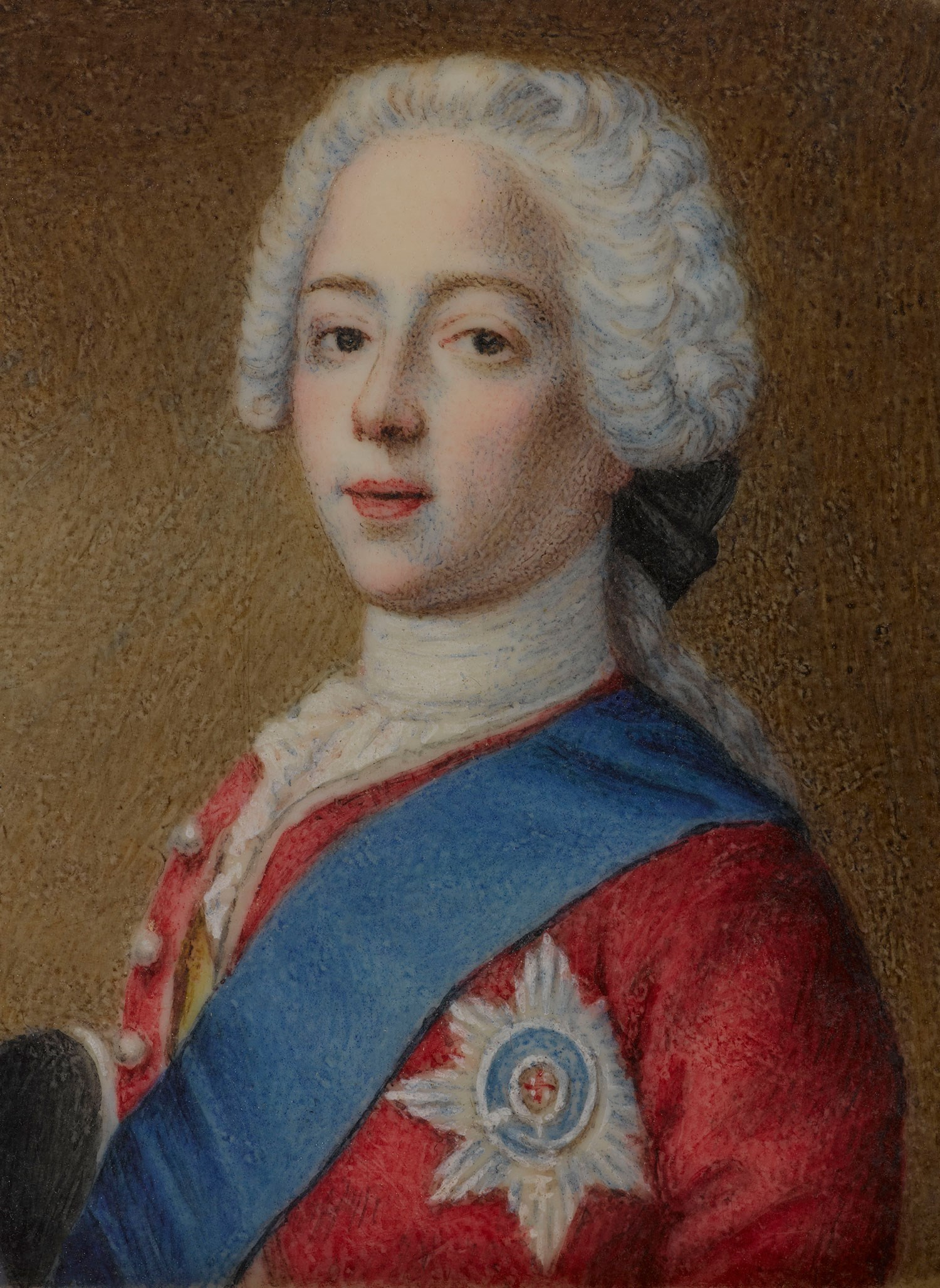 Portrait of Prince Charles Edward Stewart (detail from a miniature, watercolour on bone, artist and date unknown).