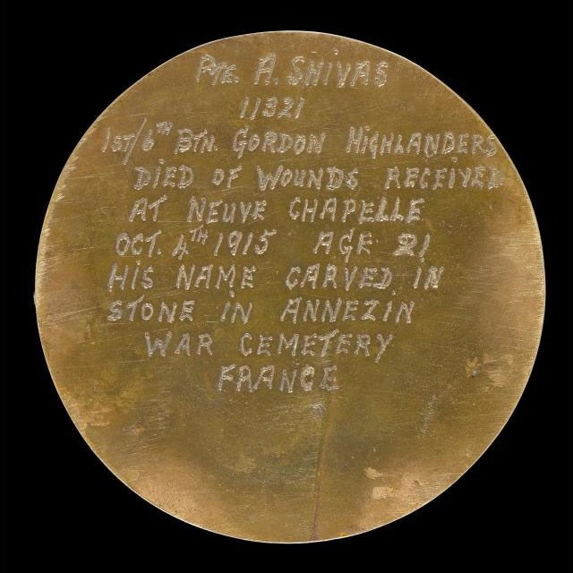 Reverse of memorial plaque of Private Alexander Shivas