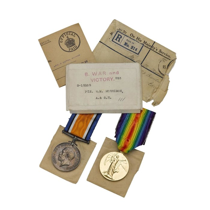 Service medals sent after the war to Mr William Morrison, who had served with the Argyll and Sutherland Highlanders